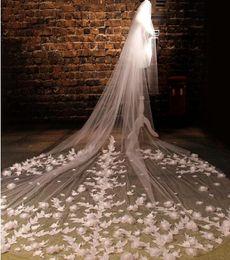 Black Veils Australia - Bridal veil new beautiful lace three-dimensional flower big tail tail yarn super long paragraph 3 m wedding wedding accessories