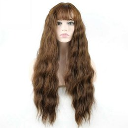 $enCountryForm.capitalKeyWord Australia - 27inch Long Wavy Wigs for Black Women Synthetic Hair Grey Brown Wigs with Bangs