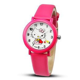 0a033fbf7 2019 Hello Kitty Cartoon Watches Kid Girls Leather Straps Wristwatch Children  Hellokitty Quartz Watch Cute Clock Montre Enfant