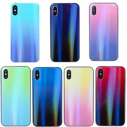 fluorescence glasses Canada - Case For iphone XR XS Max gradient aurora color intrigue explosion-proof tempered glass cell phone case For iphpne x xs 8 plus