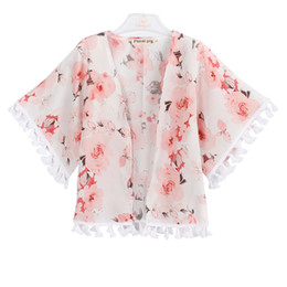 Pink Ponchos online shopping - Baby Girl Peony Outwear Kids Manteau Baby Girl Designer Clothes Butterfly Flower Printing Thin Coat Four Seasons