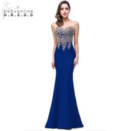 Cheap Xl Wedding Dresses NZ - Demoiselle D'honneur Elegant Appliques Lace Royal Blue Bridesmaid Dresses Cheap Wedding Party Dress Robe De Soiree Q190525