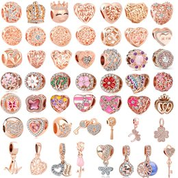 white pink mix rose flower Australia - free shipping 50pcs lot(each for one) pink rose gold european mixed charm bead&clip fit pandora charms bracelet for women diy jewelry M004