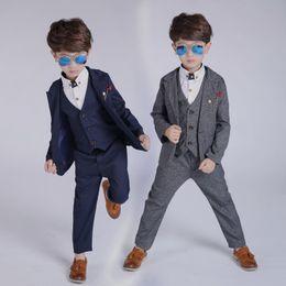 boys new models dress 2019 - 2019 New Arrival Fashion Boys Kids 3PCS Blazers Boy Suit For Weddings Prom Formal Spring Autumn Gray Blue 3PCS Dress Wed