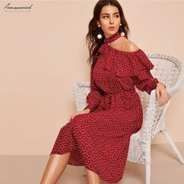 sexy clothing cut outs Australia - Polka Dot Dress Ruffle Trim Cut Out Neck Sexy Dress Women Clothes 2019 Spring Glamorous Long Sleeve Belted Midi Print