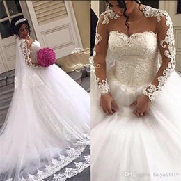 Lace Bead Illusion Wedding Dress Australia - Wedding Dresses Sheer Neck Lace Appliques Beads Illusion Long Sleeves Button Back Court Train Ruffy Tulle Plus Size Bridal Gowns Custom