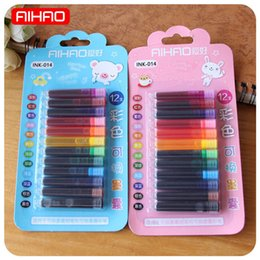 Tracking Pen Australia - 12 colours  lot Single -track ink Sack cartridge Refills For fountain calligraphy Pencil Office School Delivers creative stationery
