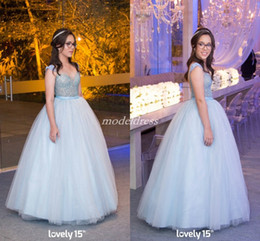 1059646e06a Light Sky Blue Ball Gown Quinceanera Dresses 2019 Cap Sleeve Backless Floor  Length Crystal Beads Prom Party Gowns For Sweet 15 Customized
