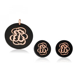 StainleSS Steel bear jewelry wholeSale online shopping - New Fashion Women Men Silver Rose Gold Black Stainless Steel Round Animal Flower Bear Necklace Earrings Jewelry Sets
