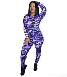 camouflage tracksuit wholesale UK - Brand Designer women Camo outfits 2 piece set hoodie leggings tracksuit camouflage sportswear clothes pullover pants sweatsuit