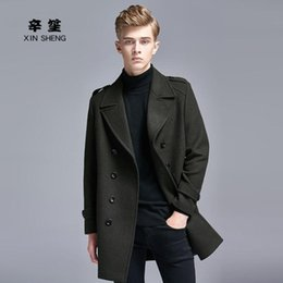 mens double breasted long trench coat NZ - Casual woolen coat men double-breasted trench coats long sleeves overcoat mens cashmere coat england autumn winter black grey