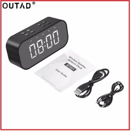 Large dispLay Led digitaL cLocks online shopping - OUTAD Bluetooth V5 TF Card AUX Play Wireless Mini Dual Speakers LED HD Large Screen Digital Display Intelligent Alarm Clocks