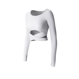 $enCountryForm.capitalKeyWord UK - Women white slim slimming belly navel sexy fitness long-sleeved quick-drying clothes running yoga sportswear women's fitness