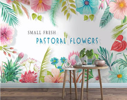 small house kitchens Australia - Custom wallpaper Small fresh hand-painted colored flowers background wall living room bedroom TV background mural 3d wallpaper