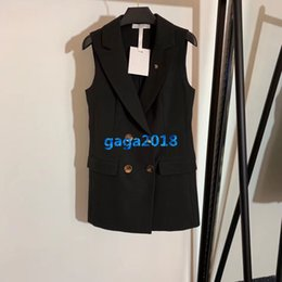 Discount vest button dress designs - high end women girls blazer vest dress crystal brooch peak lapel double breasted sleeveless mini skirt top quality fashi
