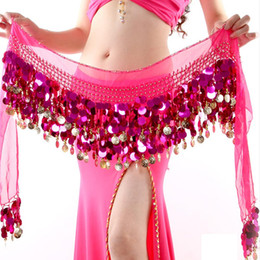 gold metal chain belt Australia - EFINNY Women Gold Metal Coins Waist Chain Belly Dance Hip Scarf Belt Scarf Skirt