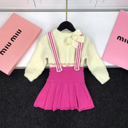 $enCountryForm.capitalKeyWord Australia - Girls sweater set kids designer clothing knit pullover + pink strap short skirt 2pcs neckline unique design autumn strap dress set