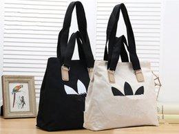 Plain Cotton Tote Australia - Foldable Large Capacity Shopping Bags Medium Size Designer Travel Cosmetic Bags Black White Fashion Tote Casual Handbag Cotton