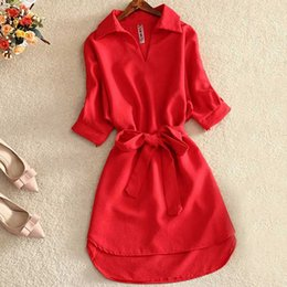 Wholesale night shirts for women online – design Summer Long Shirt Blouse Women Red Dress Fashion Solid Chiffon Tops For Women Ladies Tunic Blusas Chemisier Vestidos Femme