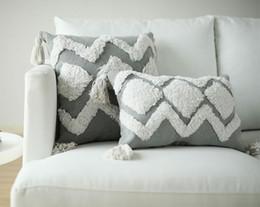 $enCountryForm.capitalKeyWord Australia - Handmade Cushion Cover Decorative Tufting Pillow Case Bohemia Grey Tassels Modern Home Sofa Chair Bedding Christmas Pillow cover