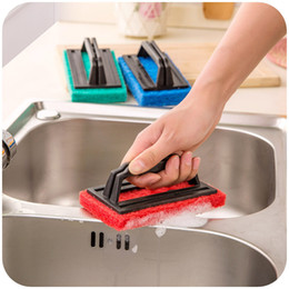 $enCountryForm.capitalKeyWord Australia - Kitchen Strong Decontamination Sponge With Handle 3 Colors Bottom Sponge Cleaning Brush Sink Wipe Bathtub Brush Tile Wipe BH0061