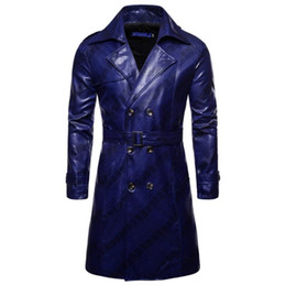 Wholesale fringe coat for sale – winter HOT new European version Men long dark fringe Windbreaker mens Fashion double breasted personality PU leather jacket coat