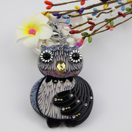 Hot Water Bottle Animals Australia - Owl compact mirror keycharm hot sale keychain with stone acrylic keyholder fashion bag accessories pocket gifts promotion