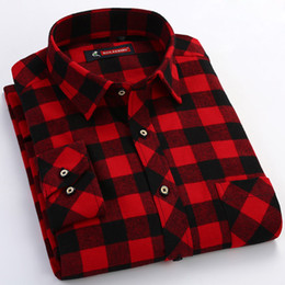 e0e86fc8de64 Men's Red black Plaid Checked Brushed Flannel Shirt with Chest Pocket  Casual Long Sleeve Slim-fit Button Down 100% Cotton