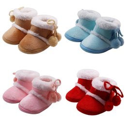wholesale snow shoes NZ - Newborn Girls Boys Shoes Baby Boots Winter First Walkers Tassel Fur Snow Super Warm Prewalkers Soft Sole No-slip Booties 2019