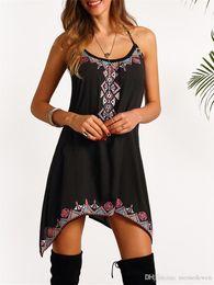 $enCountryForm.capitalKeyWord Australia - 2017 Hot Sale Black Retro Harness irregular Dress Sexy Women Sleeveless Party Summer Beach Short Mini Dress NN-044