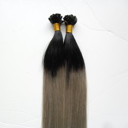 Black And Grey Hair Australia - Virgin Chinese Straight Remy Hair 100s Two tone ombre Pre Bonded keratin Nail U TIP Human Hair Extensions Black And Grey Ombre Virgin Hair