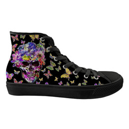37b66ab082 Customized Trendy Skull with Butterfly Pattern Flats Women Shoes High Top  Classic Canvas Vulcanized Shoes for Ladies Zapatos