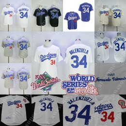 34 Fernando Valenzuela Jersey 1981 1988 WS Patch Los Angeles Baseball  Jerseys White Grey Blue 2fea3c3f3