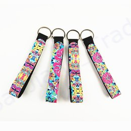 $enCountryForm.capitalKeyWord Australia - Neoprene Lily Long Strip Key Buckle Chapstick Lipstick Keychain Submersible Material Keychains Multicolor Printed Phone Charms Ornament Gift