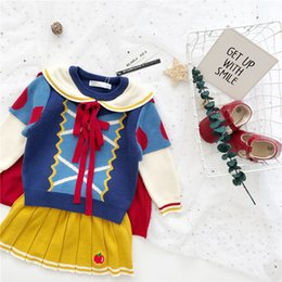 red dressed cartoon girl Australia - Autumn and winter dress new baby girl dress princess cloak girl knitted sweater skirt suit Y200325