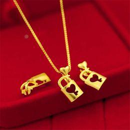 Love Key Lock Pendant Australia - Pure copper plated women's Japanese and Korean fashion temperament clavicle accessories Vietnam sand gold key lock pendant