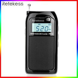 rechargeable batteries NZ - PR12 Mini Pocket Radio FM AM Digital Tuning Audio Receiver 9K 10K MP3 Music Player Rechargeable Battery Portable Radio