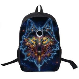 65388a1fca53 Wolf Husky Printing Backpack Men Women Street Rock Backpack Pug Backpacks  For Teenager Girls Boys School Bags Hip Hop Backpacks