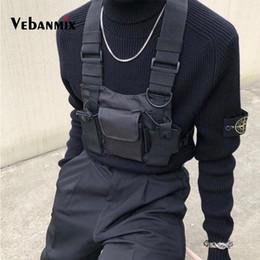 Venta al por mayor de Moda Nylon Cofre Rig Bag Negro Chaleco Hip Hop Streetwear Funcional Arnés táctico Cofre del pecho Kanye West Wist Pack Bolsa