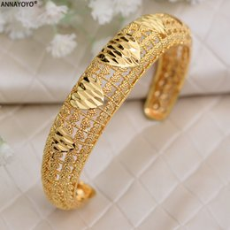 Bangles india online shopping - Annayoyo India Ethiopian Bracelet Bangles For Women Arab Ethiopian Africa Dubai Gold Color Bangle Jewelry Gift for women