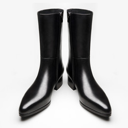 Open tOe cOwbOy bOOts online shopping - Autumn winter new mens genuine leather boots high heels fashion pointed toe zip inside plush warm men boots cowboy boot