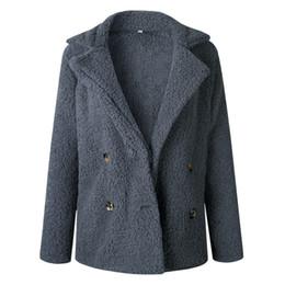 $enCountryForm.capitalKeyWord UK - Plus Size Women Autumn Winter Coat Lapel Pocket Button Long Sleeves Warm Solid Color Woolen Outwear Jacket 2018 Newest Arrival T4190610