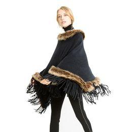 $enCountryForm.capitalKeyWord Australia - Women Tassel Knitted Shawl Cape Poncho Scarf Pullovers Warmers Fashion Women Faux Fur Collar Scarves