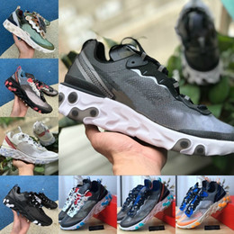 China Hot Sale 2019 React Element 87 Running Shoes For Men Women White Black NEPTUNE GREEN Blue Mens Trainer Design Breathable Sports Sneakers supplier mens sports lower design suppliers