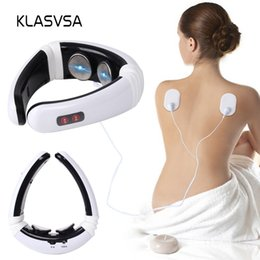 physical therapy massager NZ - wholesale Electrode Pads Pulse Cervical Neck Massager Acupuncture Stimulator Wire Tens Physical Therapy Device Health Care Muscle