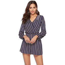 3663ad834f Elegant Sexy Backless Short Jumpsuits Rompers For Women Long Sleeve V-Neck  Striped Playsuit Casual Female Leotard Overalls DG364