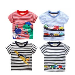 unisex cat tee shirt NZ - Baby Embroidery T-Shirt Kids Baby Boy Designer Clothes Round Collar Solid Color Short Sleeve Cat Stripe Tees 49