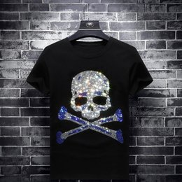 glitter clothes UK - 2019 Glittering Rhinestones Skulls T Shirts Mens Fashion Clothing Streetwear Short Sleeve O Neck Modal Cotton Calaveras Camiseta