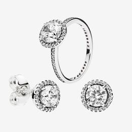 Büyük CZ Elmas HALKA ve KÜPE Orijinal kutusu ile Pandora zarif Kadınlar alyans saplama Küpe seti için 925 Sterling Gümüş Takı setleri