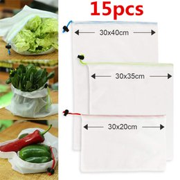 wholesale cake bags NZ - Shopping s SML Recycle Mesh Bag Reusable Shopping Bag Rope Vegetable Food Fruit Storage Pouch Grocery Bags Shopper Organizers Bag 15pcs lot